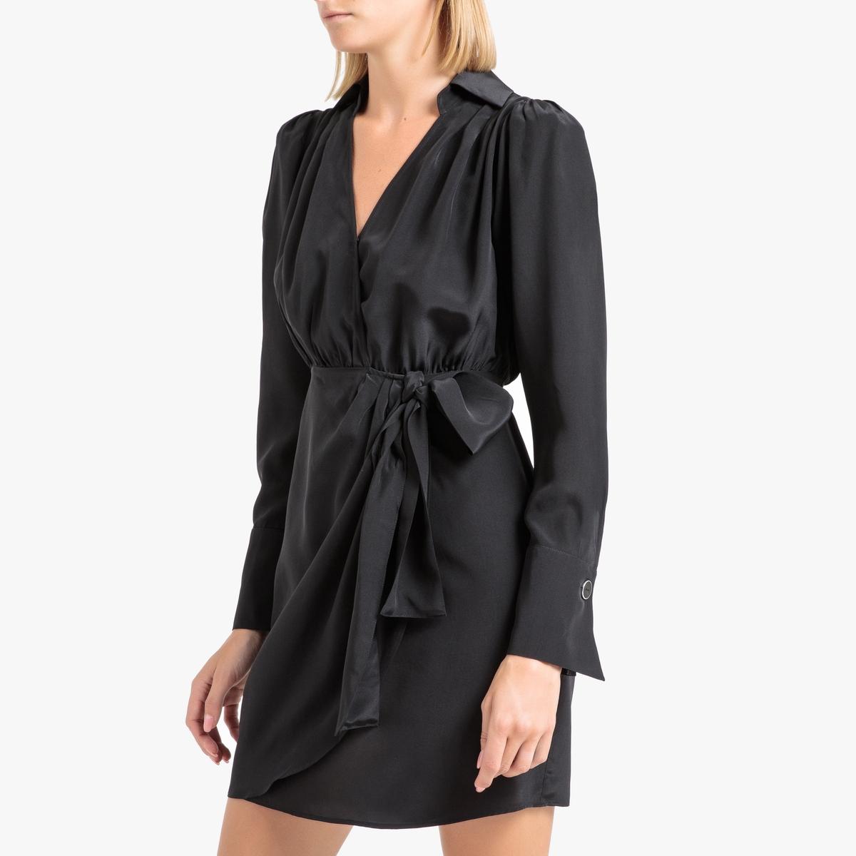 Фото - Платье La Redoute Короткое с длинными рукавами из шелка 3(L) черный l roche fernand cortez ou la conquete du mexique