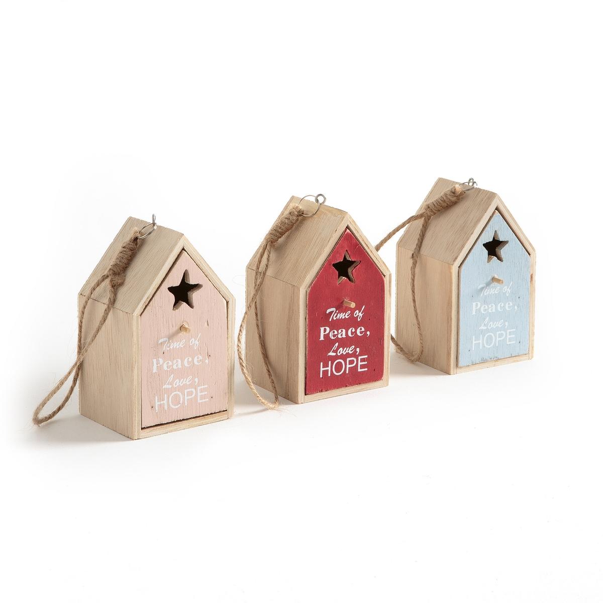 Комплект из 3 новогодних домиков из дерева, COCOUNA