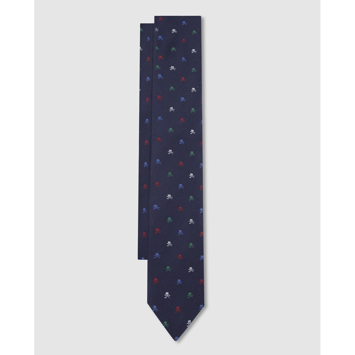 Cravate en soie bleu marine micro têtes de mort