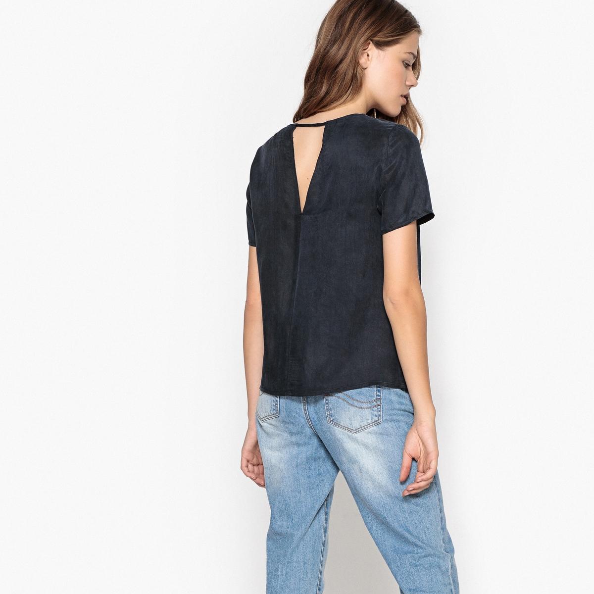 Блузка однотонная с круглым вырезом и короткими рукавами блузка однотонная с короткими рукавами