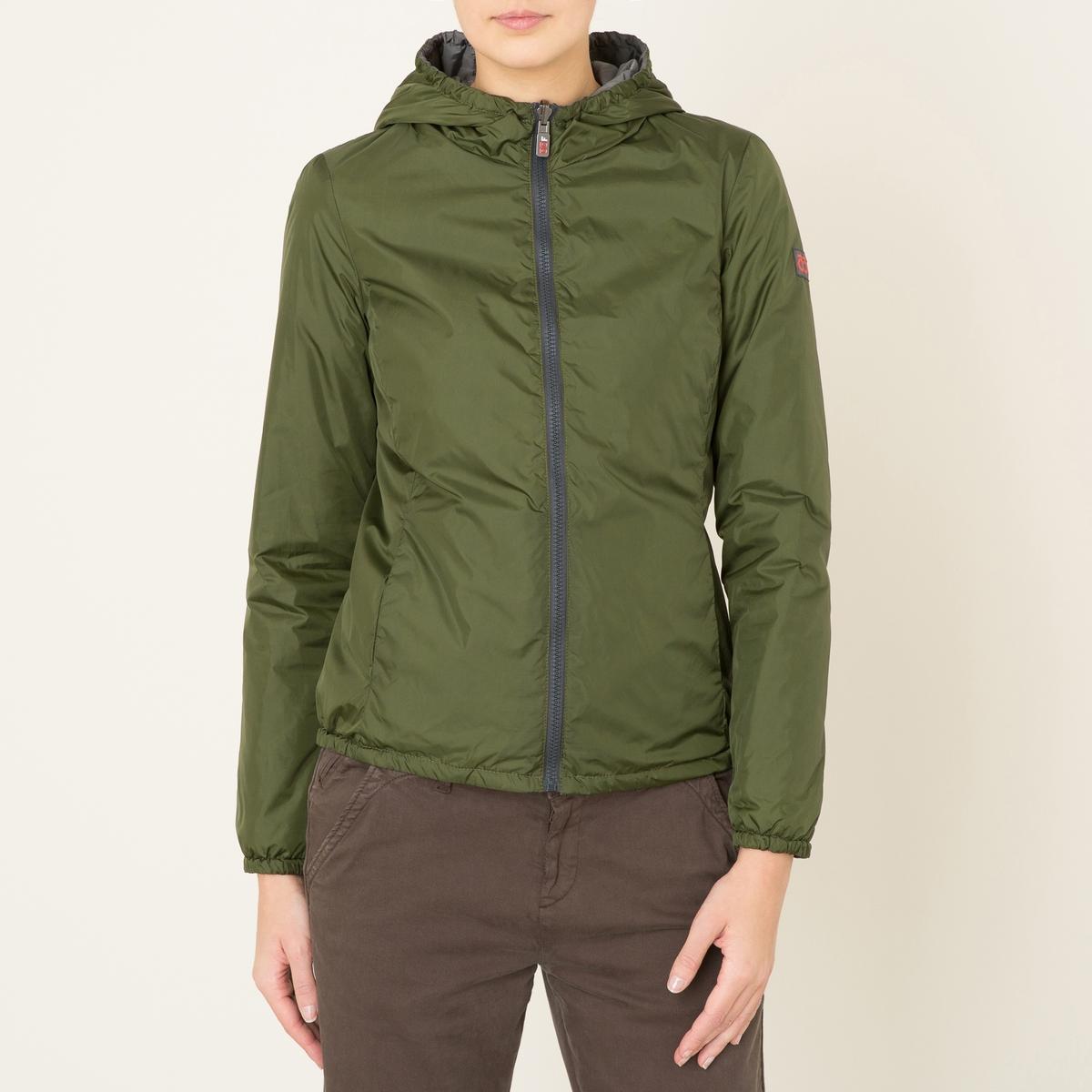 Куртка стеганая короткая двусторонняяКуртка стеганая короткая OOF - двусторонняя модель . С капюшоном . Высокий воротник. Отрезные детали на поясе на поясе . Невидимые карманы по бокам . Застежка на молнию. Эластичные манжеты.Состав &amp; Детали Материал : 100% полиамидМарка : OOF<br><br>Цвет: фиолетовый/ розовый,хаки/ серый