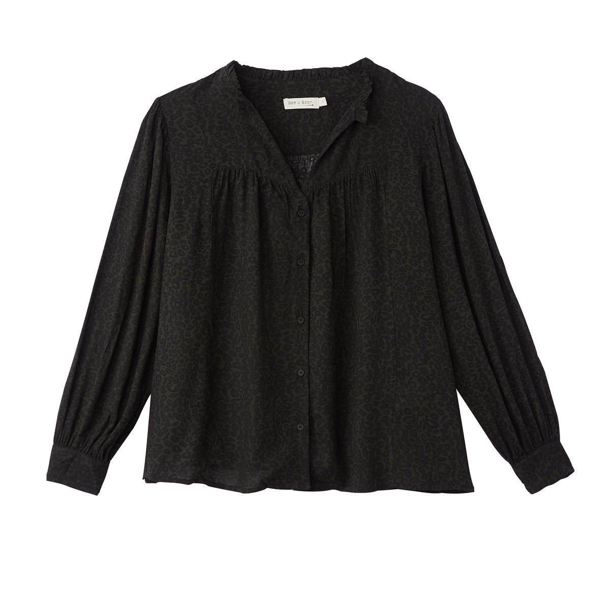 Блузка с v-образным вырезом с леопардовым принтом и длинными рукавами блузка с принтом