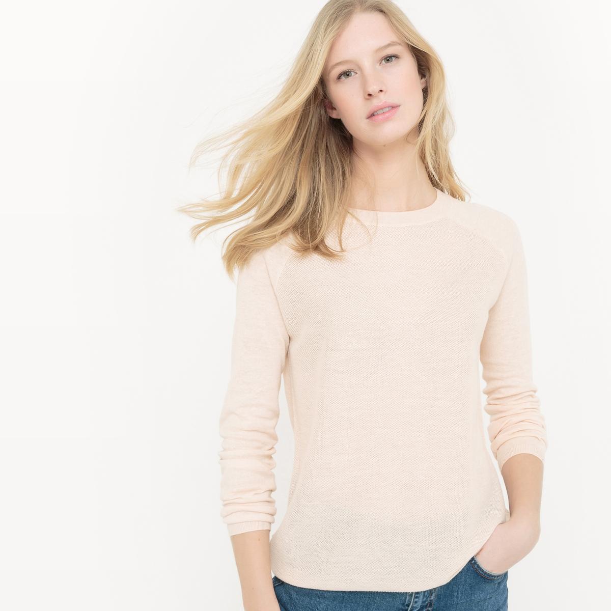 Sweter z okrągłym dekoltem, z bawełny i lnu