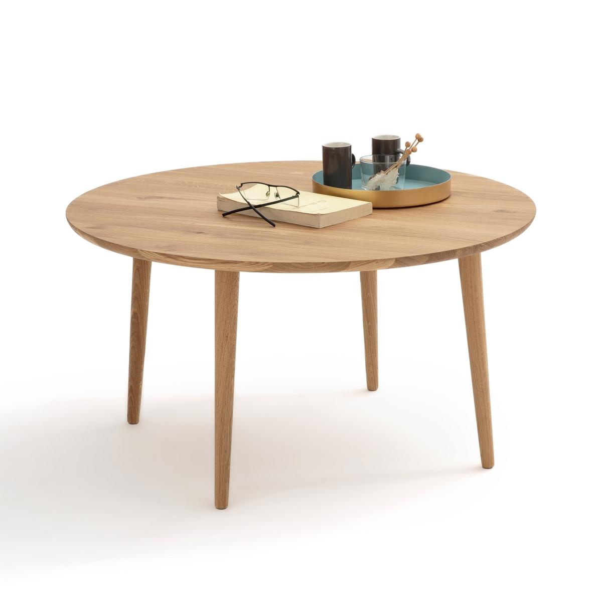 Столик LaRedoute Журнальный круглый из массива дуба CRUESO единый размер каштановый столик laredoute журнальный из дуба покрытого олифой adelita единый размер каштановый