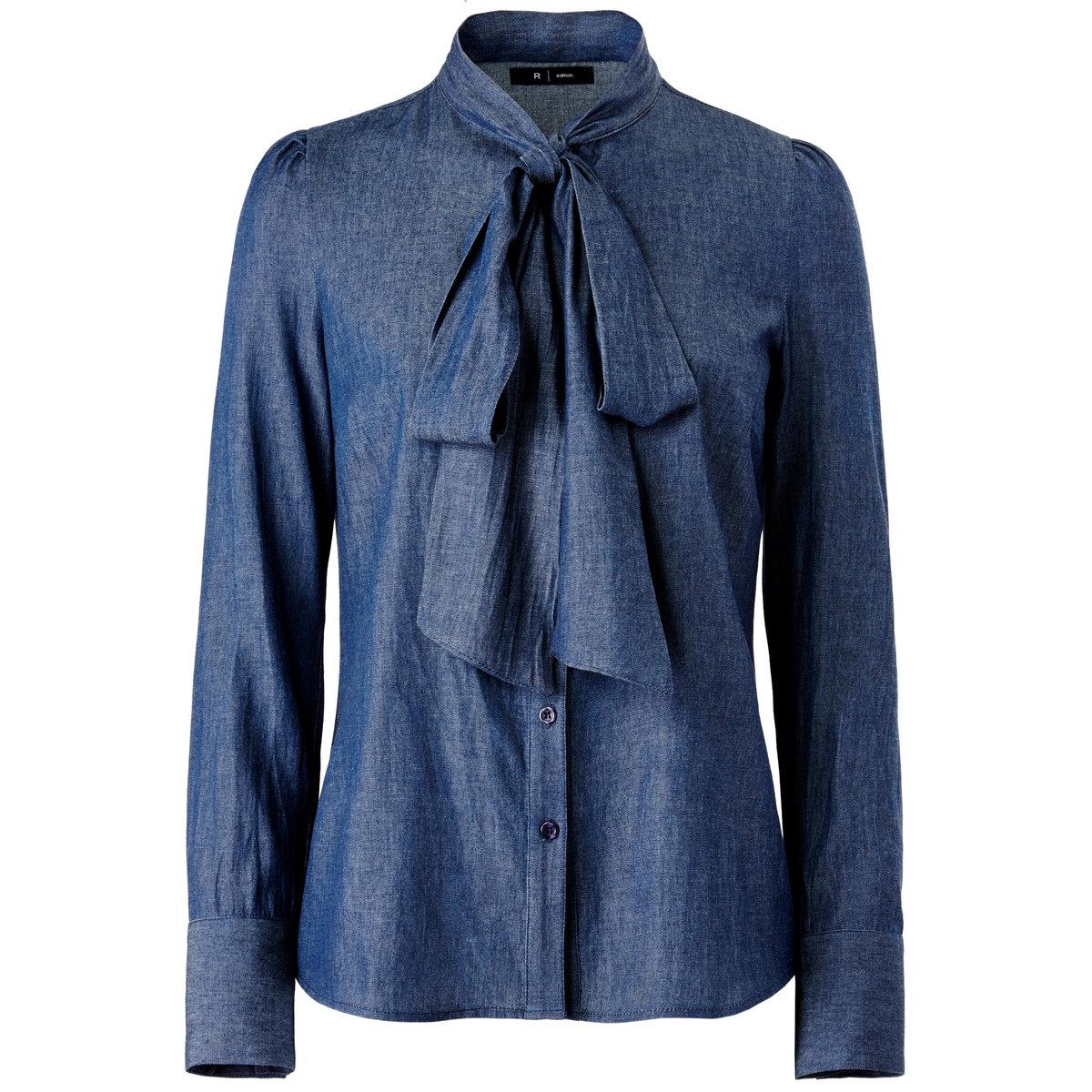 Блузка, 100% хлопка.<br><br>Цвет: деним<br>Размер: 34 (FR) - 40 (RUS).46 (FR) - 52 (RUS)