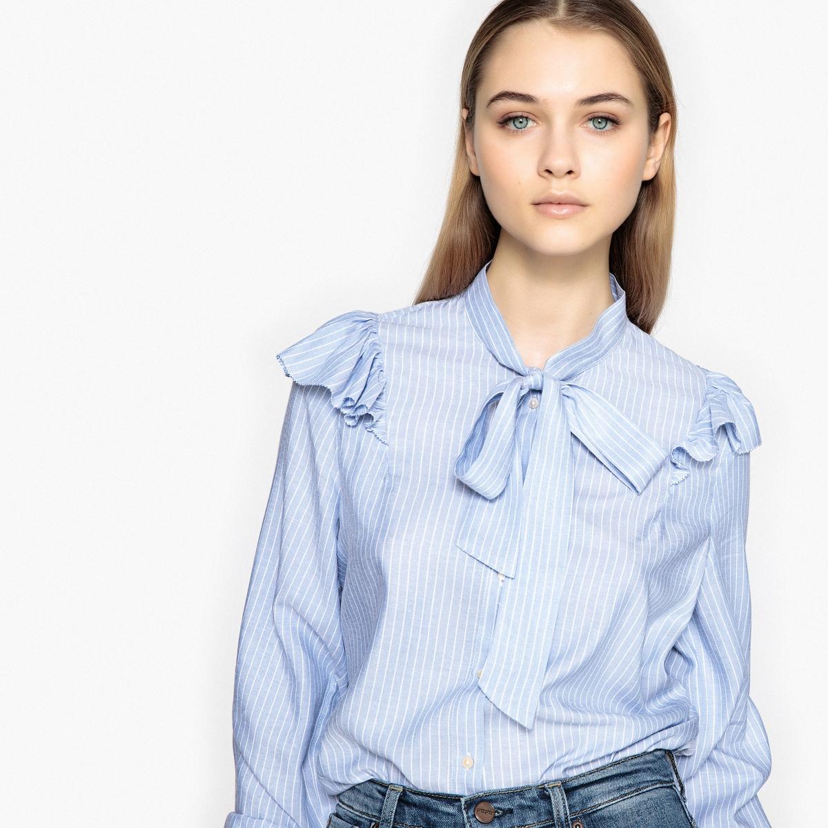 Camisa recta con chalina, de manga larga