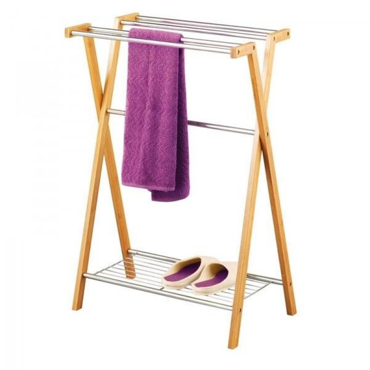 Porte-serviettes sur pied bambou  chromé zeller