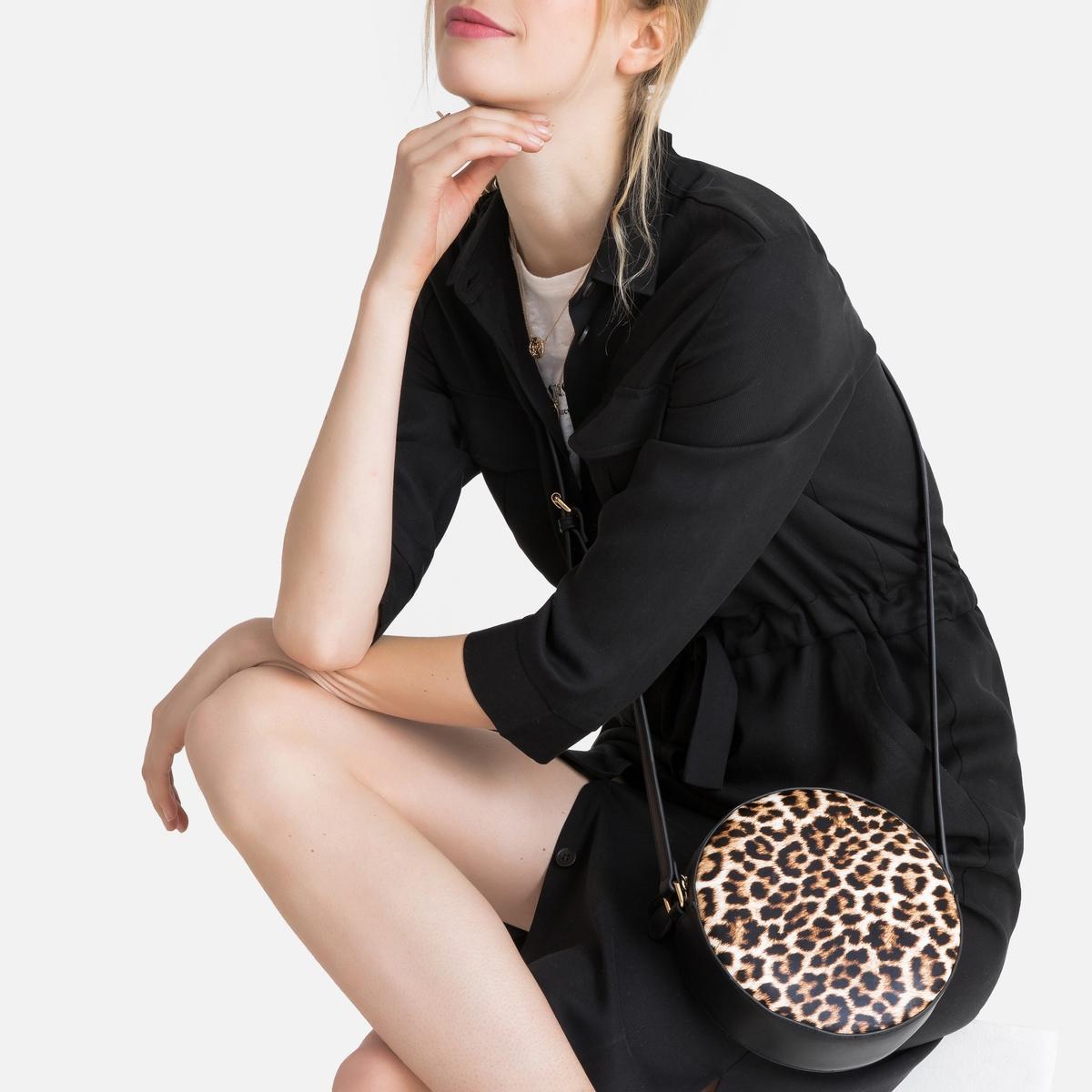 Bolso redondo con estampado de leopardo