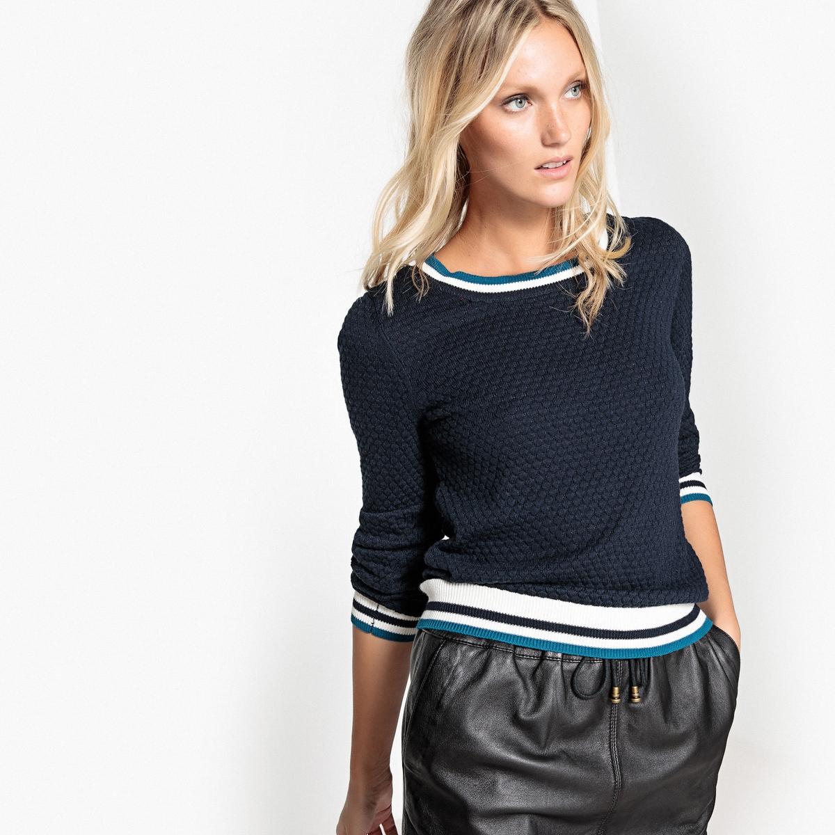 Пуловер в полоску из тонкого ажурного трикотажа