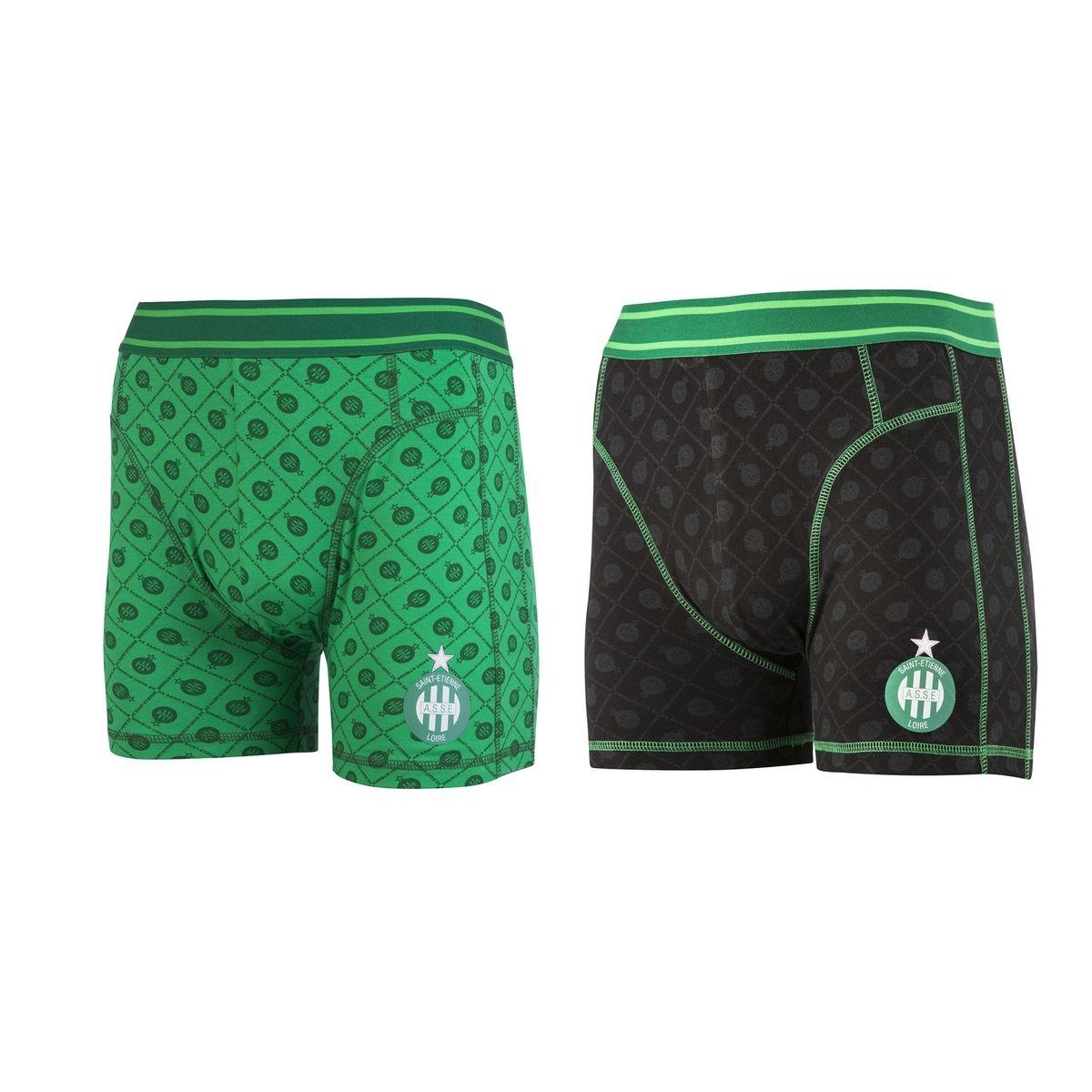 Lot 2 boxers AS Saint-Etienne Noir/Vert
