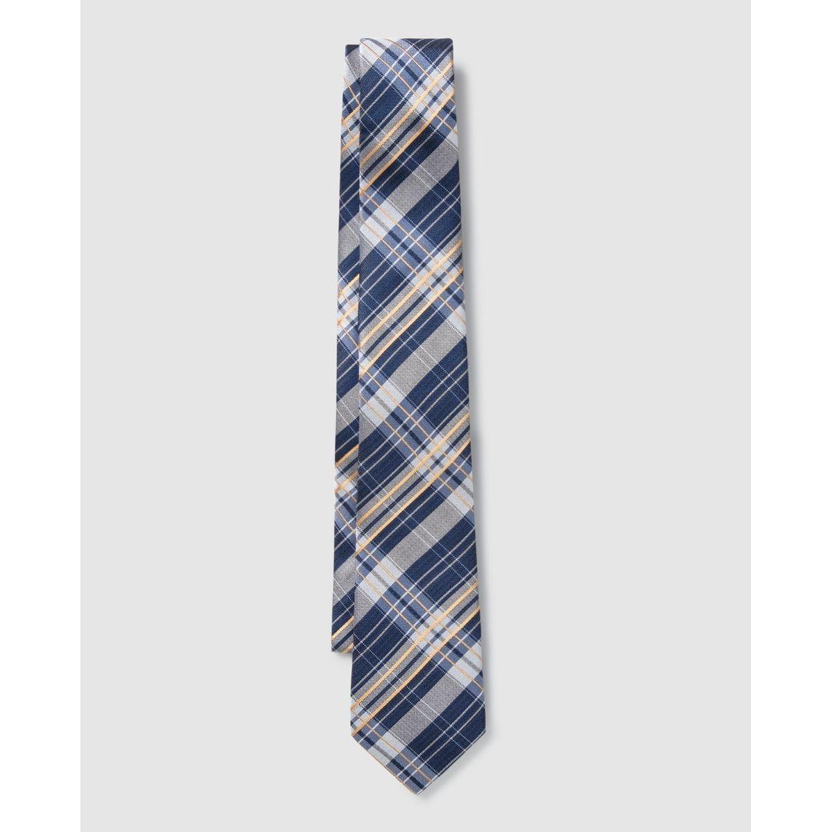 Cravate en soie et à carreaux
