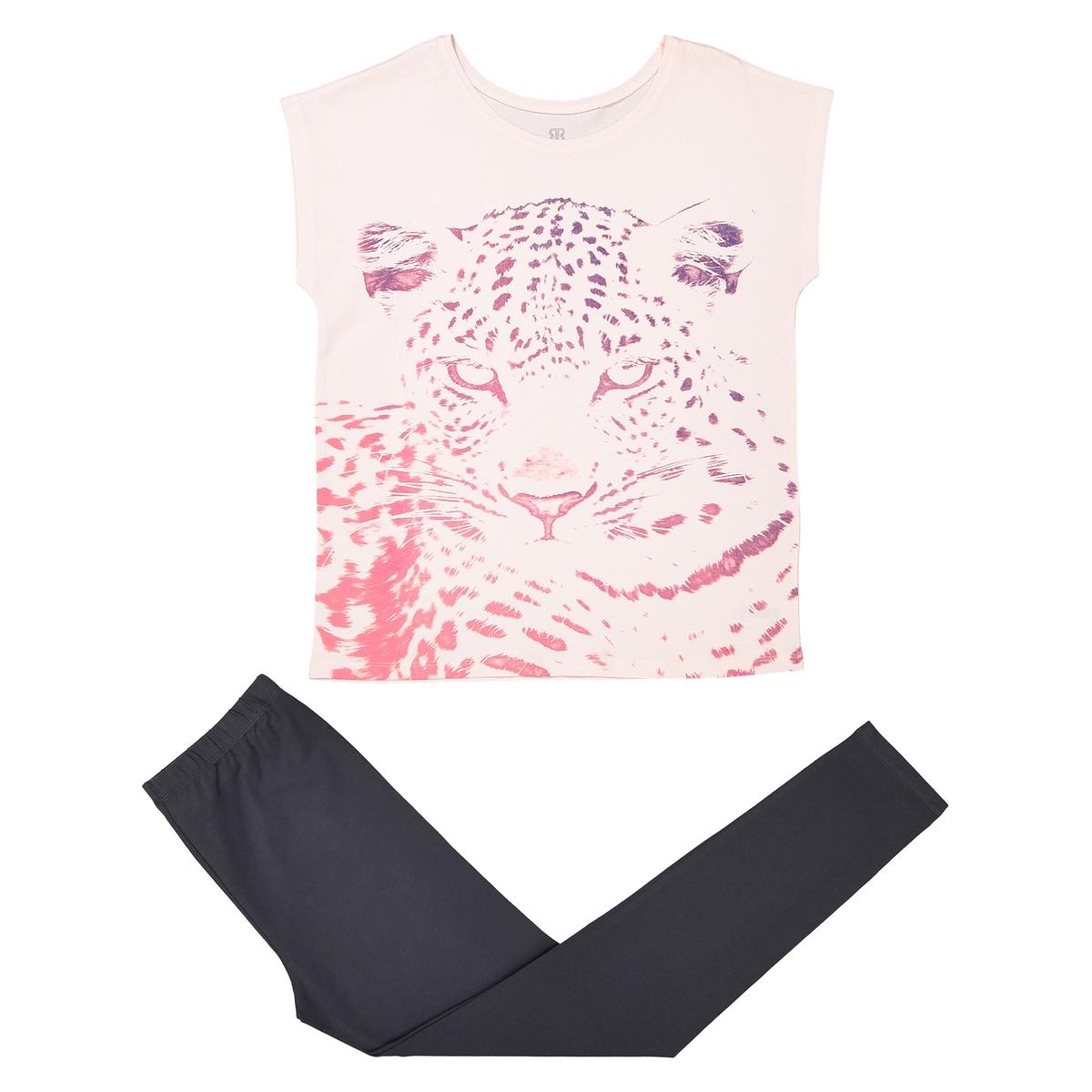 Пижама с рисунком и короткими рукавами, 10-16 лет пижама с шортами с рисунком