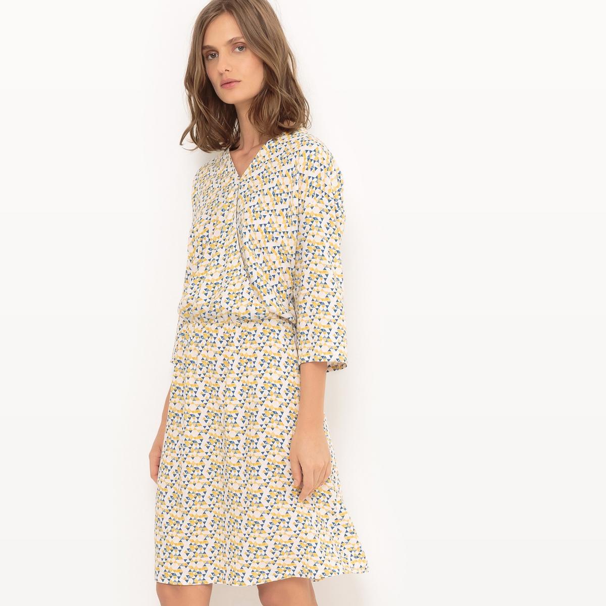 Sukienka kopertowa z nadrukiem w trójkąty