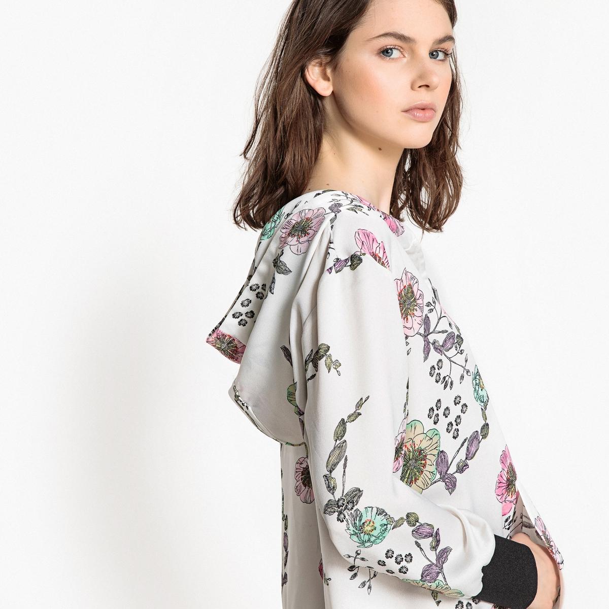 Платье с цветочным рисунком, застежкой на молнию спереди и капюшоном