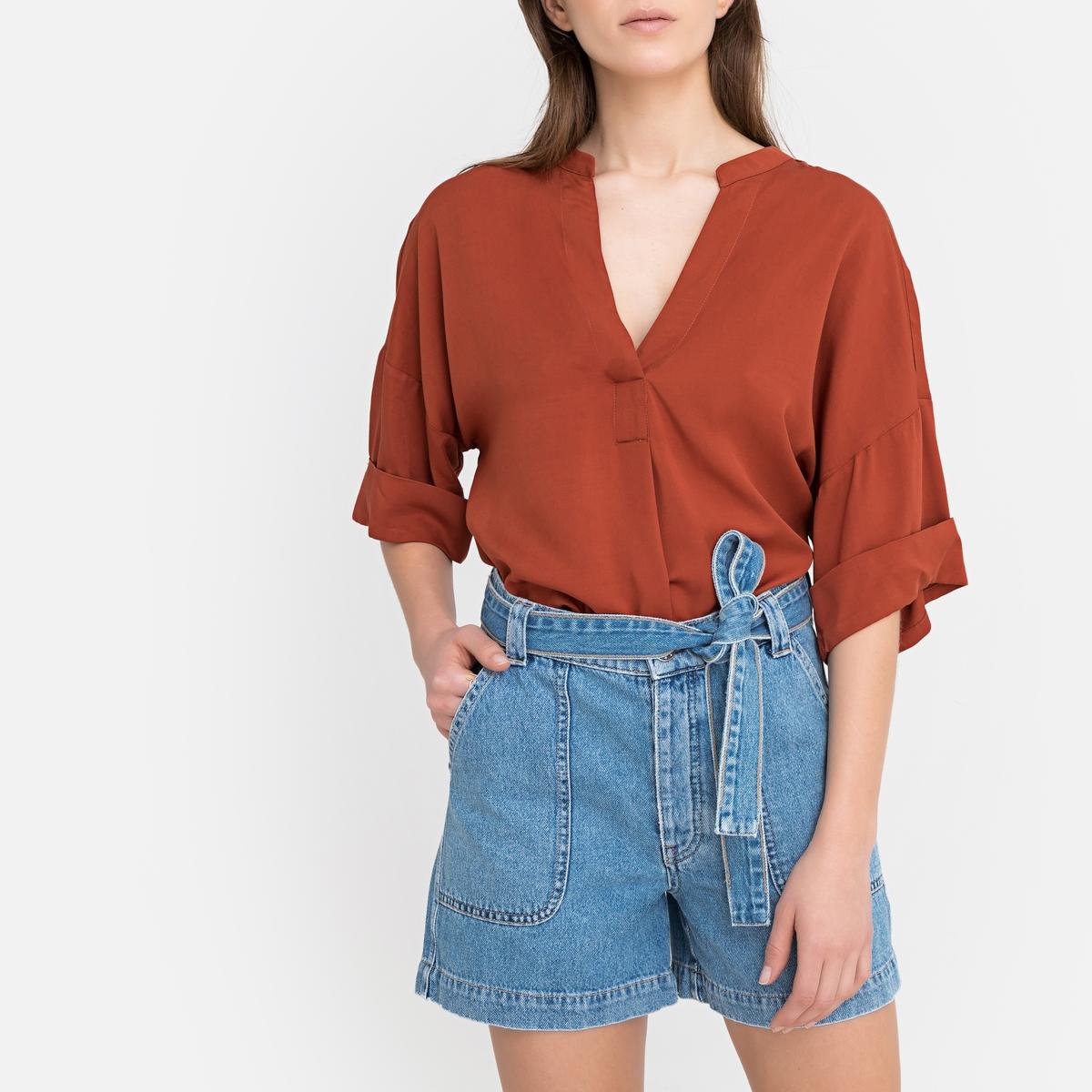Блузка La Redoute С воротником-стойкой и короткими рукавами 34 (FR) - 40 (RUS) оранжевый цены