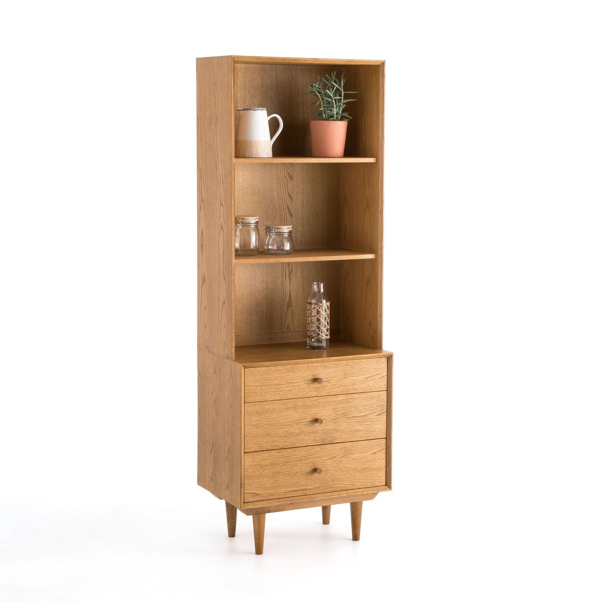 Шкаф LaRedoute Книжный в винтажном стиле из дерева с 4 нишами и 3 ящиками Quilda La Redoute Interieurs единый размер каштановый