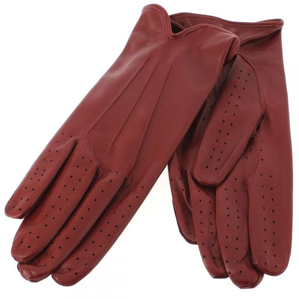 Gant cuir rouge Luxe, agneau, fait main en Italie