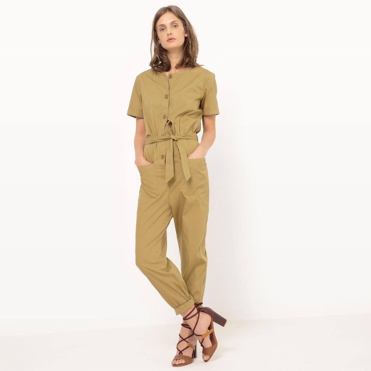 Комбинезон с брюками и поясом однотонный комбинезон с брюками с рисунком