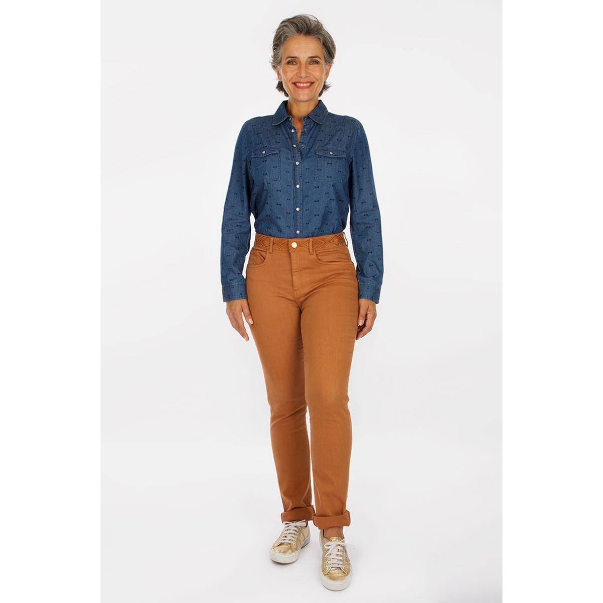 Pantalon ceinture brodée