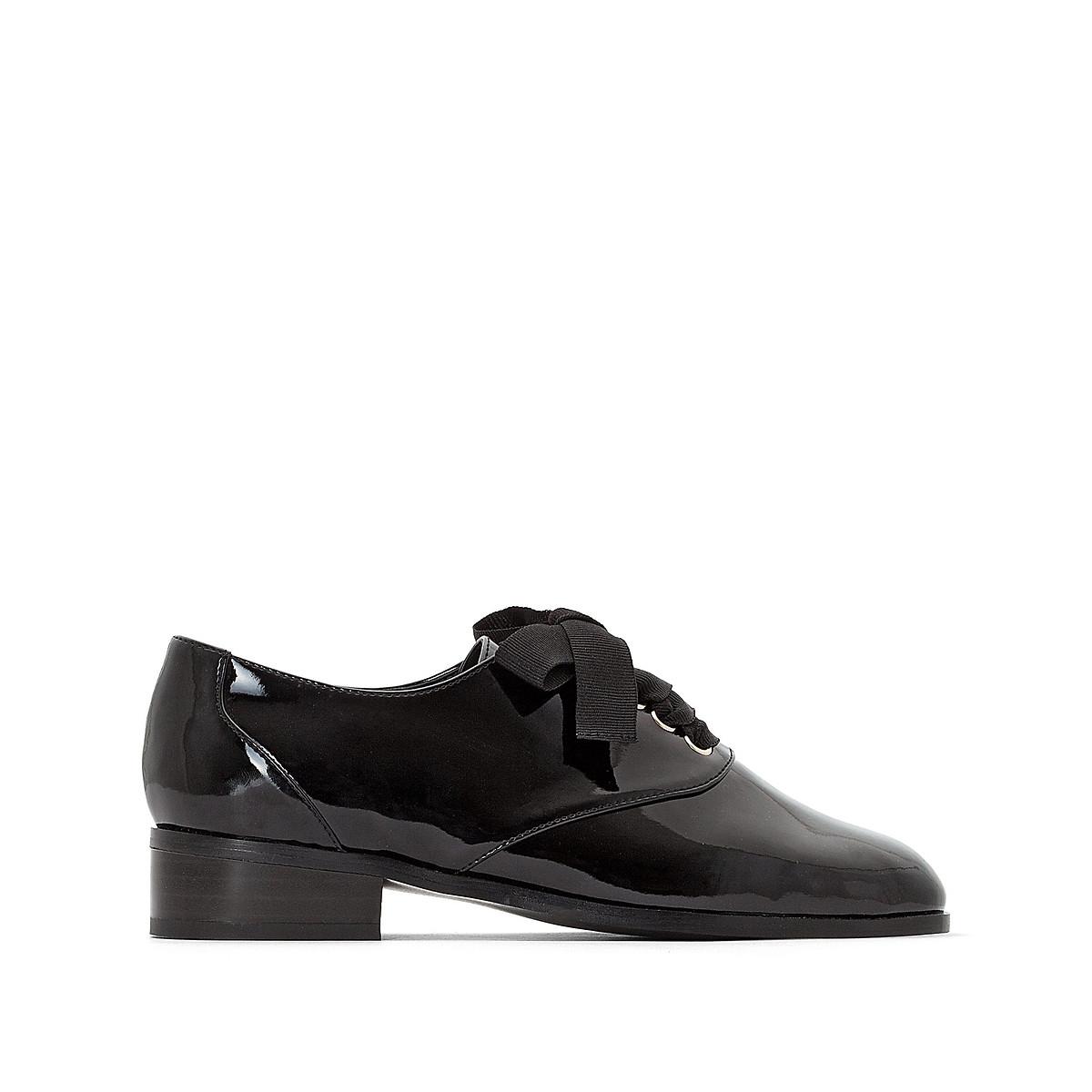 Ботинки-дерби LaRedoute Лакированные 42 черный