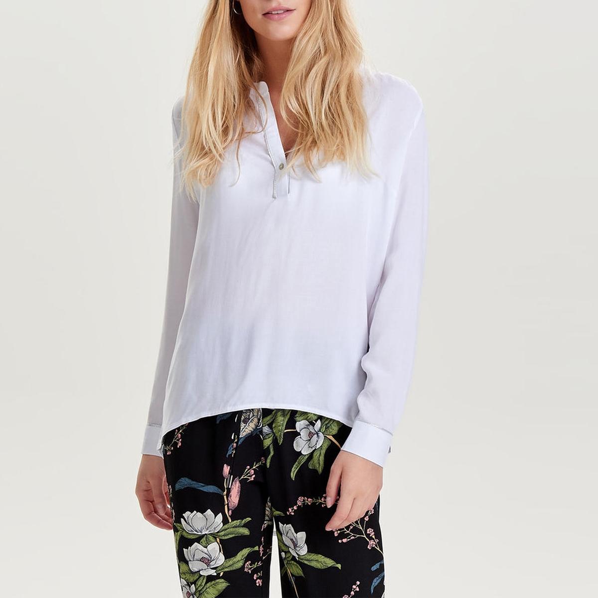 Блузка с длинными рукавами и круглым вырезом с разрезом спереди