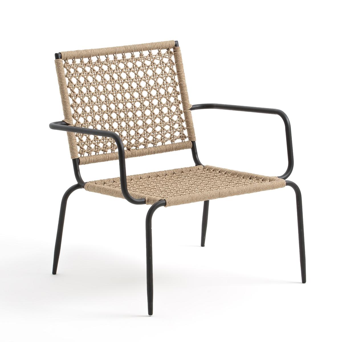 Кресло LaRedoute Для сада Ibiza из металла и плетеной веревки единый размер бежевый