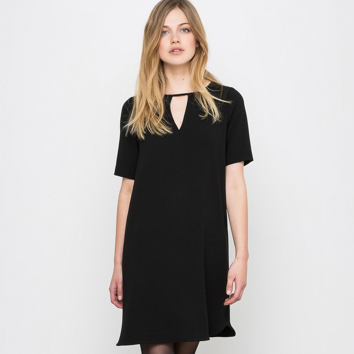 Платье прямоеПрямое платье. Круглый вырез с V-образным разрезом. Короткие рукава и прямой низ. Боковые разрезы внизу. 100% полиэстера. Длина. 89 см.    (Рекомендуется выбирать на один размер меньше Вашего обычного размера).<br><br>Цвет: зеленый<br>Размер: 42 (FR) - 48 (RUS)