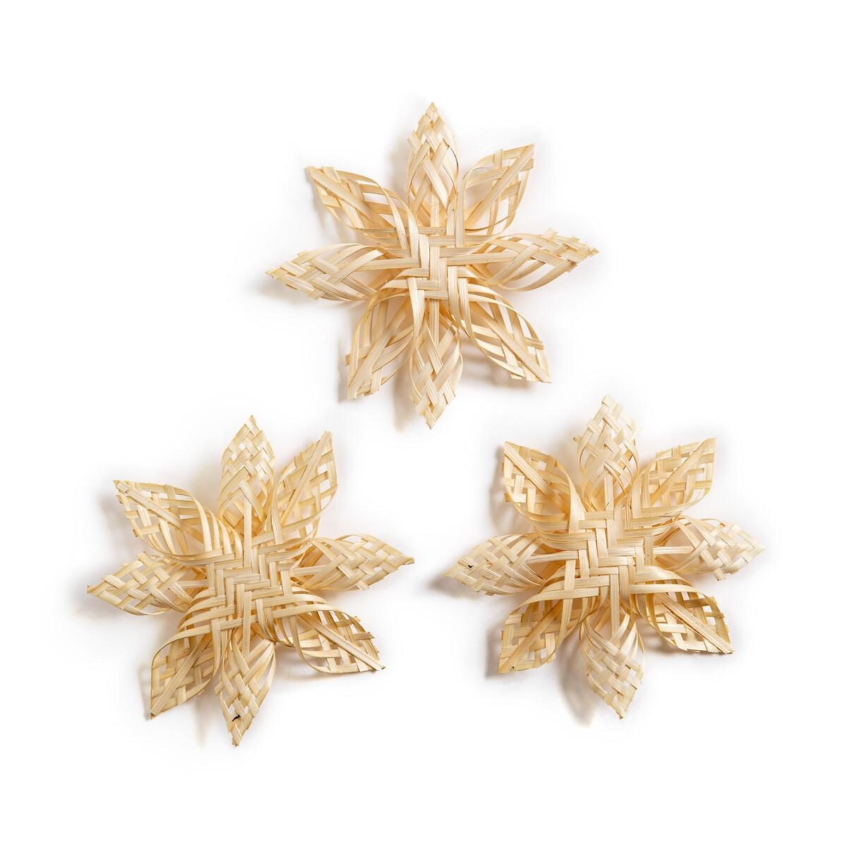 Набор LaRedoute Из 3 новогодних украшения из бамбука Origamy единый размер бежевый сумка шоппер laredoute из джута с надписью gypsy единый размер бежевый