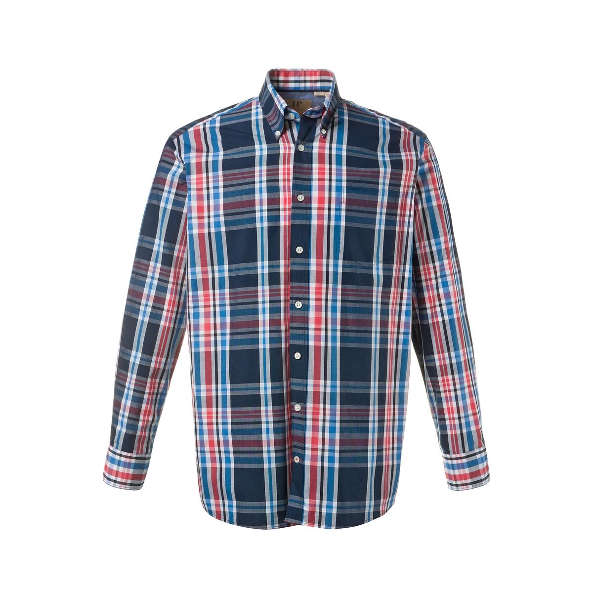 РубашкаРубашка с длинными рукавами JP1880. 100% хлопок.Рубашка в клетку, воротник с уголками на пуговицах и нагрудный карман. Внутренняя часть манжет из оксфорда. Удобный покрой. Длина в зависимости от размера от 82 до 96 см<br><br>Цвет: в клетку<br>Размер: 4XL.7XL