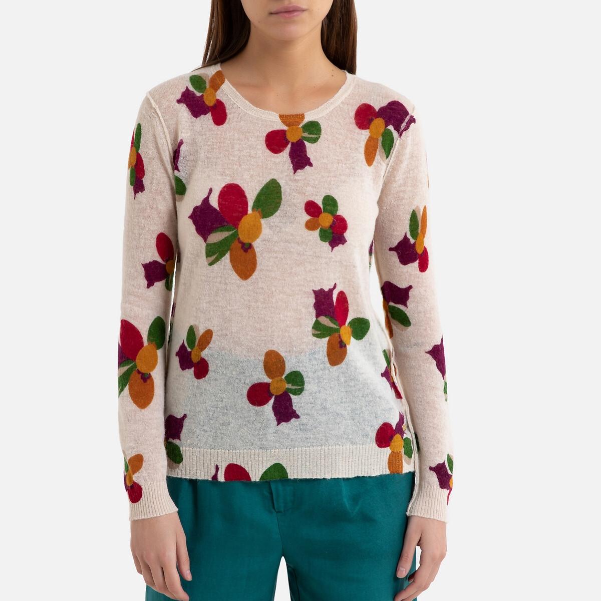 Пуловер La Redoute С круглым вырезом из тонкого трикотажа с принтом FREDDA 3(L) разноцветный