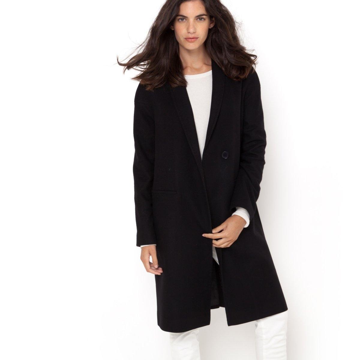 Пальто 80% шерстиПальто LAURA CL?MENT. Овальная форма, длинное пальто. 80% шерсти, 20% полиэстера. Подкладка из полиэстера. Шалевый воротник. Длинные рукава, приспущенные проймы. Застежка на 1 пуговицу. 2 кармана по бокам. Длина ок. 103 см.<br><br>Цвет: черный<br>Размер: 42 (FR) - 48 (RUS)