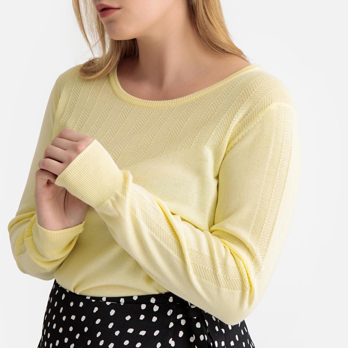 Пуловер La Redoute С круглым вырезом из тонкого трикотажа 46/48 (FR) - 52/54 (RUS) желтый пуловер la redoute с круглым вырезом из шерсти мериноса pascal 3xl черный