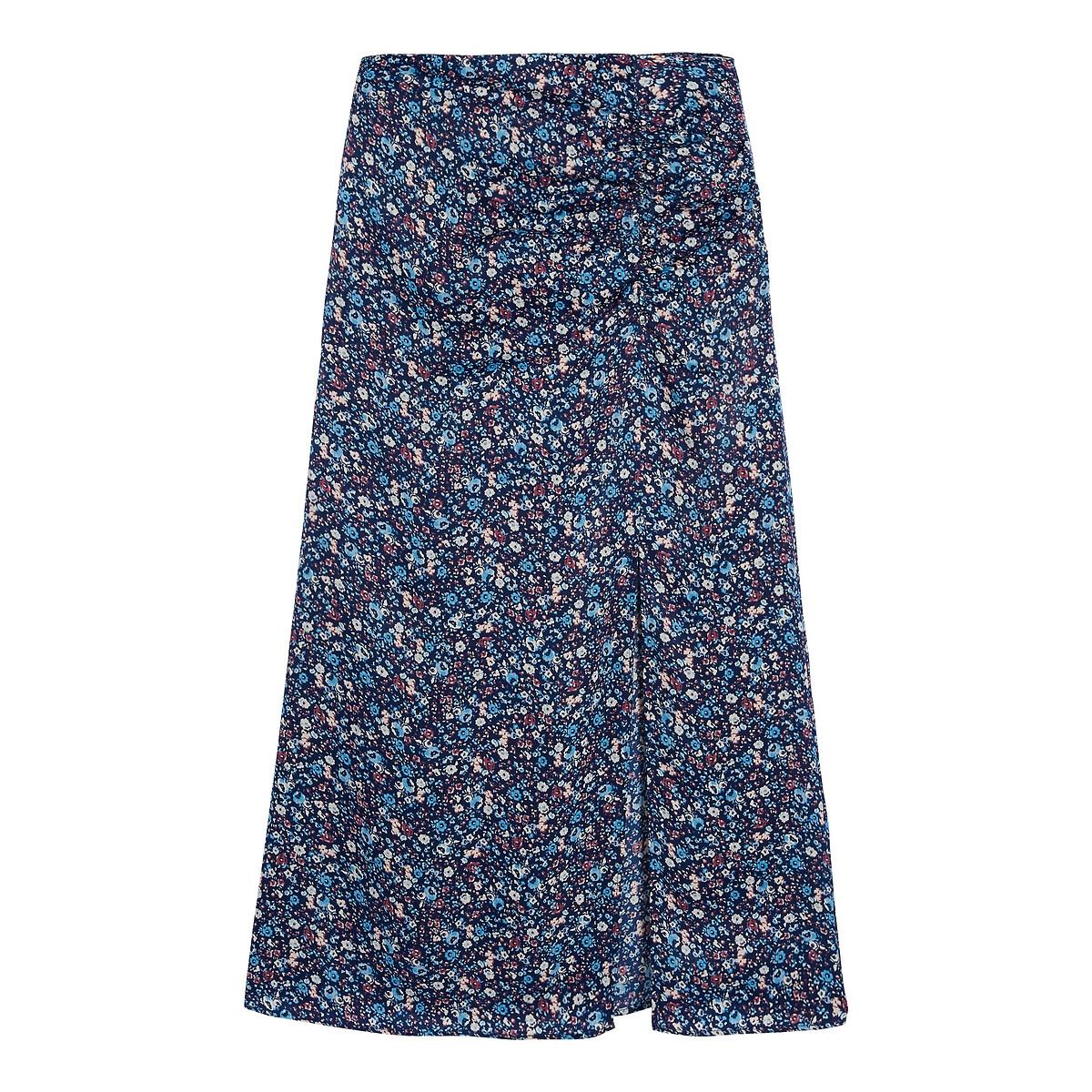 Falda larga de tubo con raja, estampada de flores
