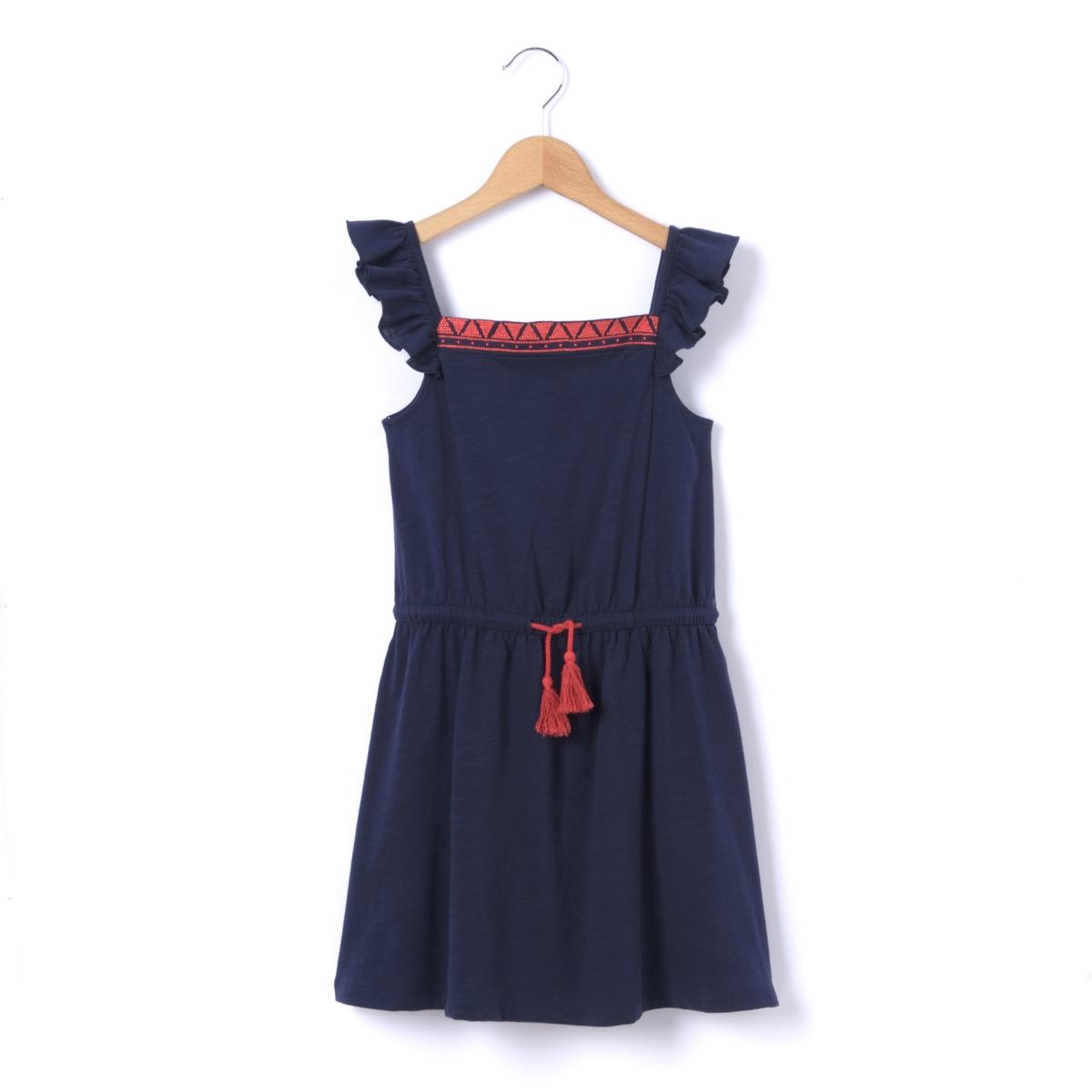 Платье с короткими рукавами и воланами, 3-12 лет