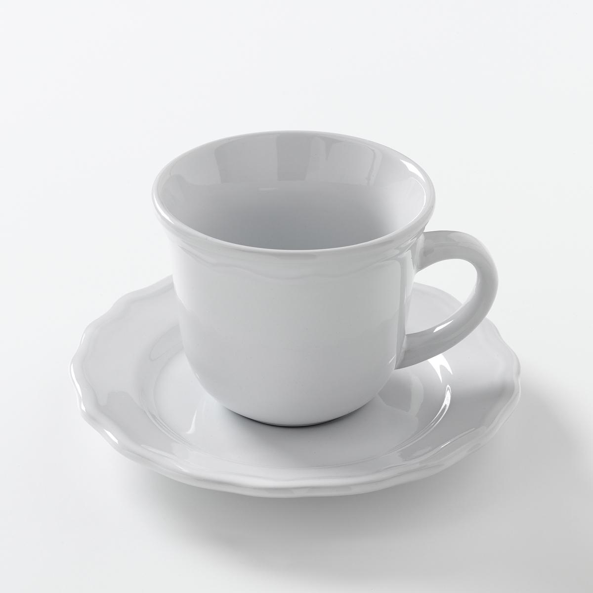 Кружка + блюдце из фаянса (комплект из 4 шт), AjilaХарактеристики 4 кружек + блюдец из фаянса с отделкой фестоном Ajila   :- Из фаянса, зубчатая кромка.- Диаметр блюдца 16 см.- Диаметр чашки 9 см.- Высота чашки 7,7 см.- Объем 22 см3.- Можно использовать в посудомоечных машинах и микроволновых печах.Плоские, глубокие, десертные тарелки и чашки Ajila продаются на нашем сайте .<br><br>Цвет: белый,серо-коричневый<br>Размер: единый размер