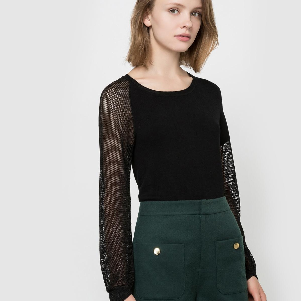 Пуловер с круглым воротникомСостав и описаниеМатериал: 78% вискозы, 19% нейлона, 3% эластана.Марка: LES PTITES BOMBES.<br><br>Цвет: черный