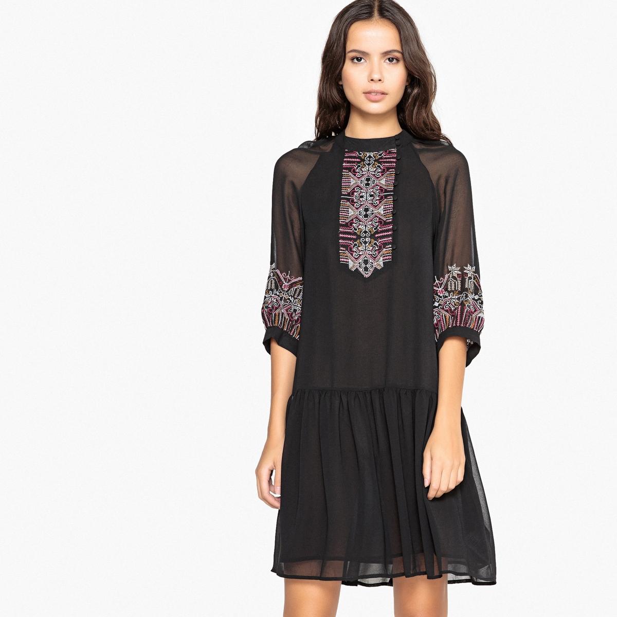 Платье La Redoute Расклешенное с вышивкой спереди и объемными рукавами 34 (FR) - 40 (RUS) черный
