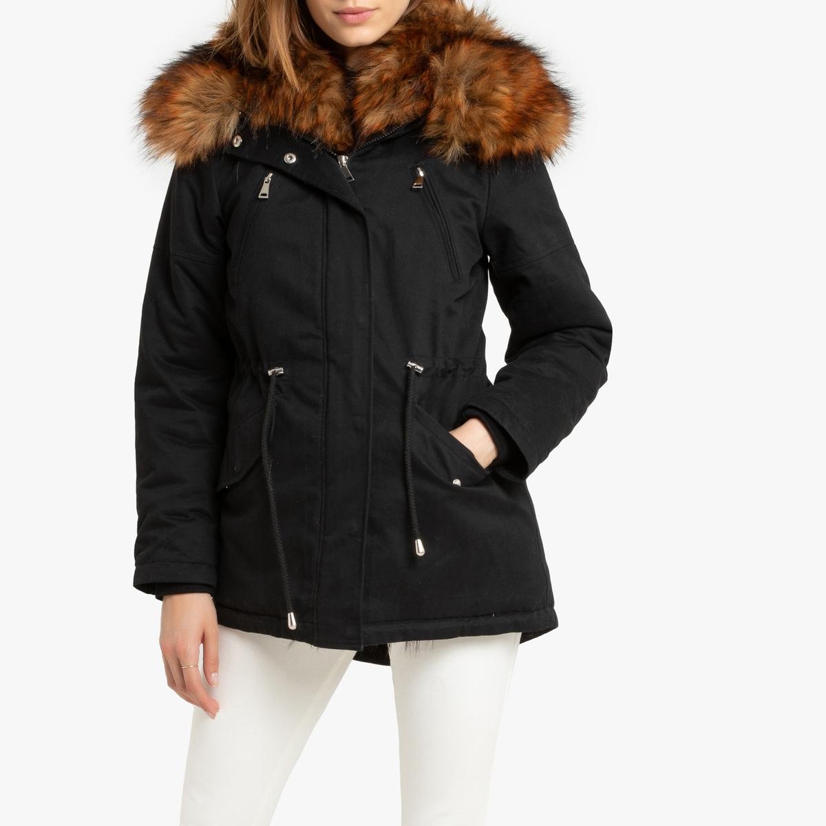 Пальто La Redoute Средней длины с капюшоном из искусственного меха L черный цена