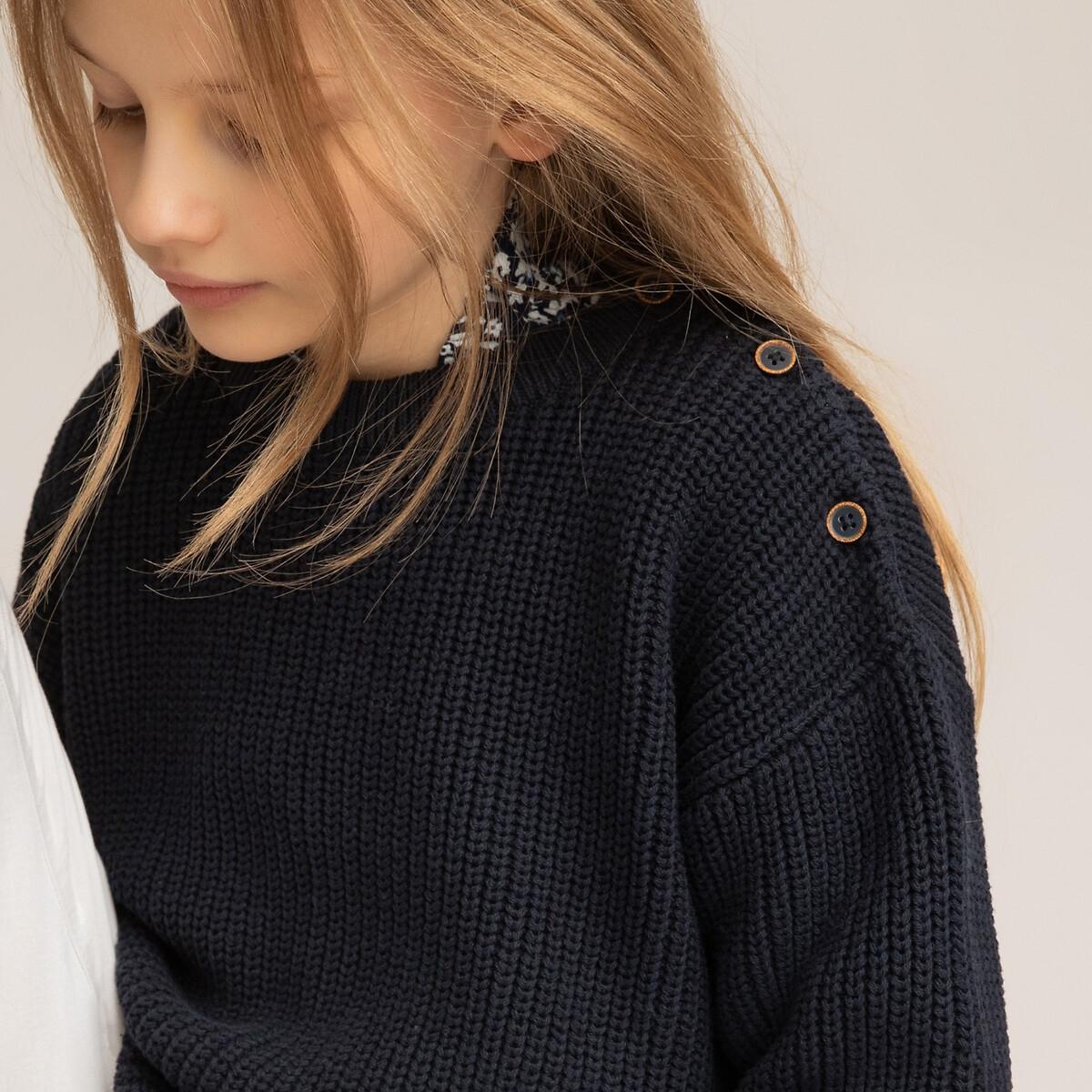 Фото - Пуловер LaRedoute С круглым вырезом из трикотажа крупной вязки 3-12 лет 3 года - 94 см синий пуловер laredoute крупной вязки s синий