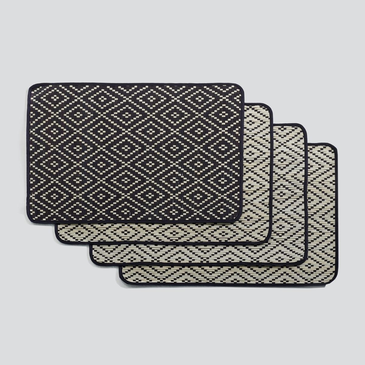 Комплект из 4 салфеток из пальмового дерева, SabinКомплект из 4 салфеток под столовые приборы, Sabin. Добавляют декору этнический штрих...Характеристики: : - Плетеные, из пальмового дерева- Двусторонние.Размеры  : - 30 x 40 см<br><br>Цвет: белый + черный<br>Размер: единый размер