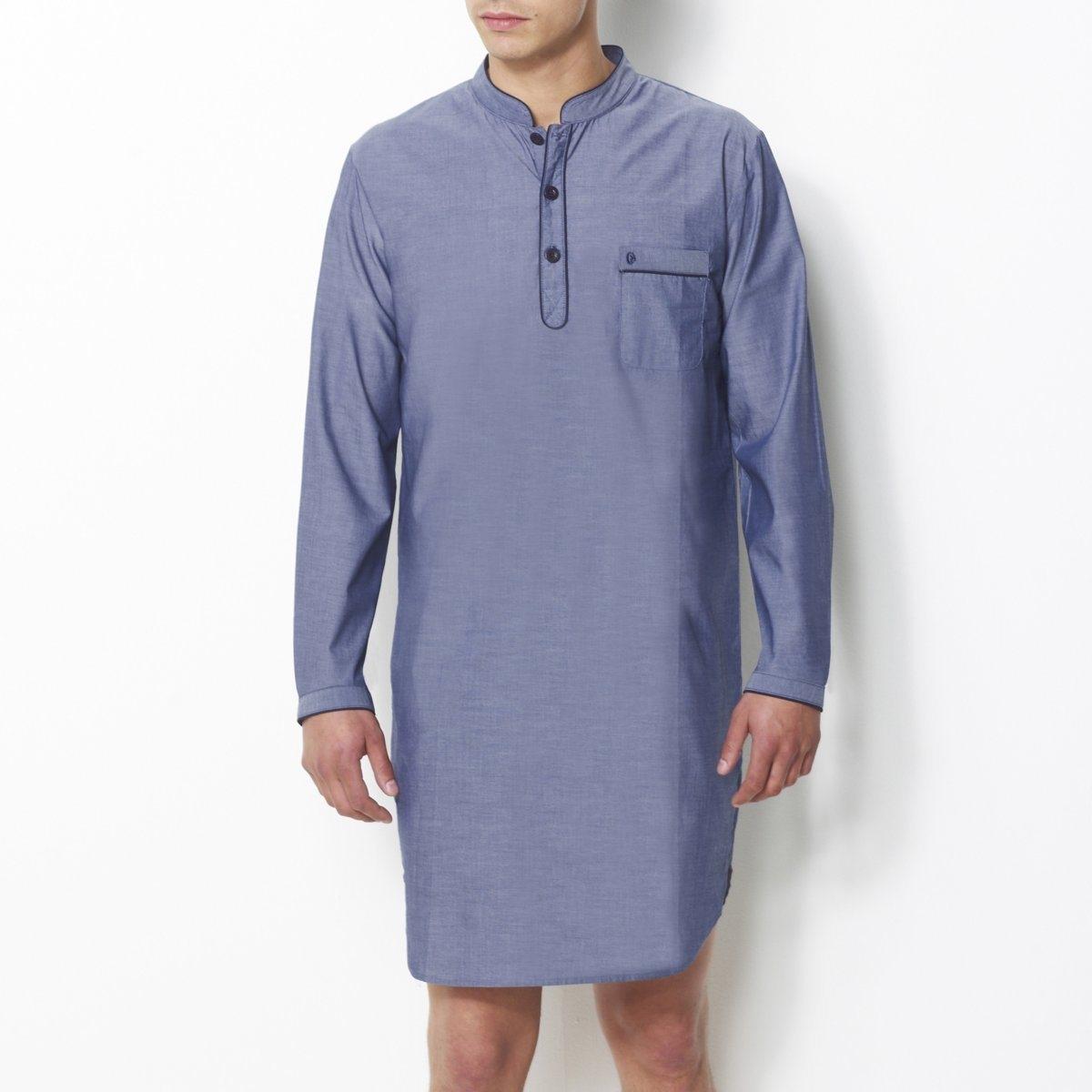 Пижама-рубашкаПоплин в полоску, 100% хлопка. Длинные рукава. Воротник-стойка с застежкой на 3 пуговицы. 1 нагрудный карман с вышивкой. Длина 100 см.<br><br>Цвет: шамбрэ<br>Размер: M