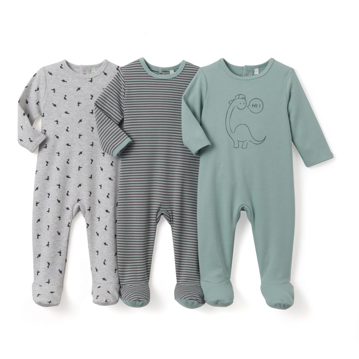 3 пижамы хлопковые с рисунком, 0 мес.- 3 лет