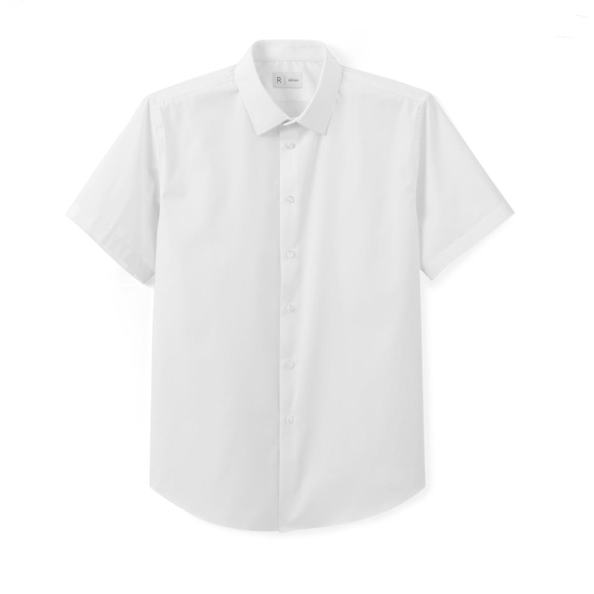 Рубашка стандартного покроя с короткими рукавамиРубашка с короткими рукавами. Стандартный (прямой) покрой. Классический воротник со свободными кончиками. Легкая глажка.Состав и описание : Материал         55% хлопка, 45% полиэстераДлина       78 смМарка          R editionУход: :Машинная стирка при 30° на деликатном режиме с вещами подобного цвета Стирка и глажка с изнаночной стороныСухая чистка и машинная сушка запрещеныГладить на низкой температуре<br><br>Цвет: белый,синий морской,черный<br>Размер: 41/42.45/46.41/42.43/44.41/42.37/38