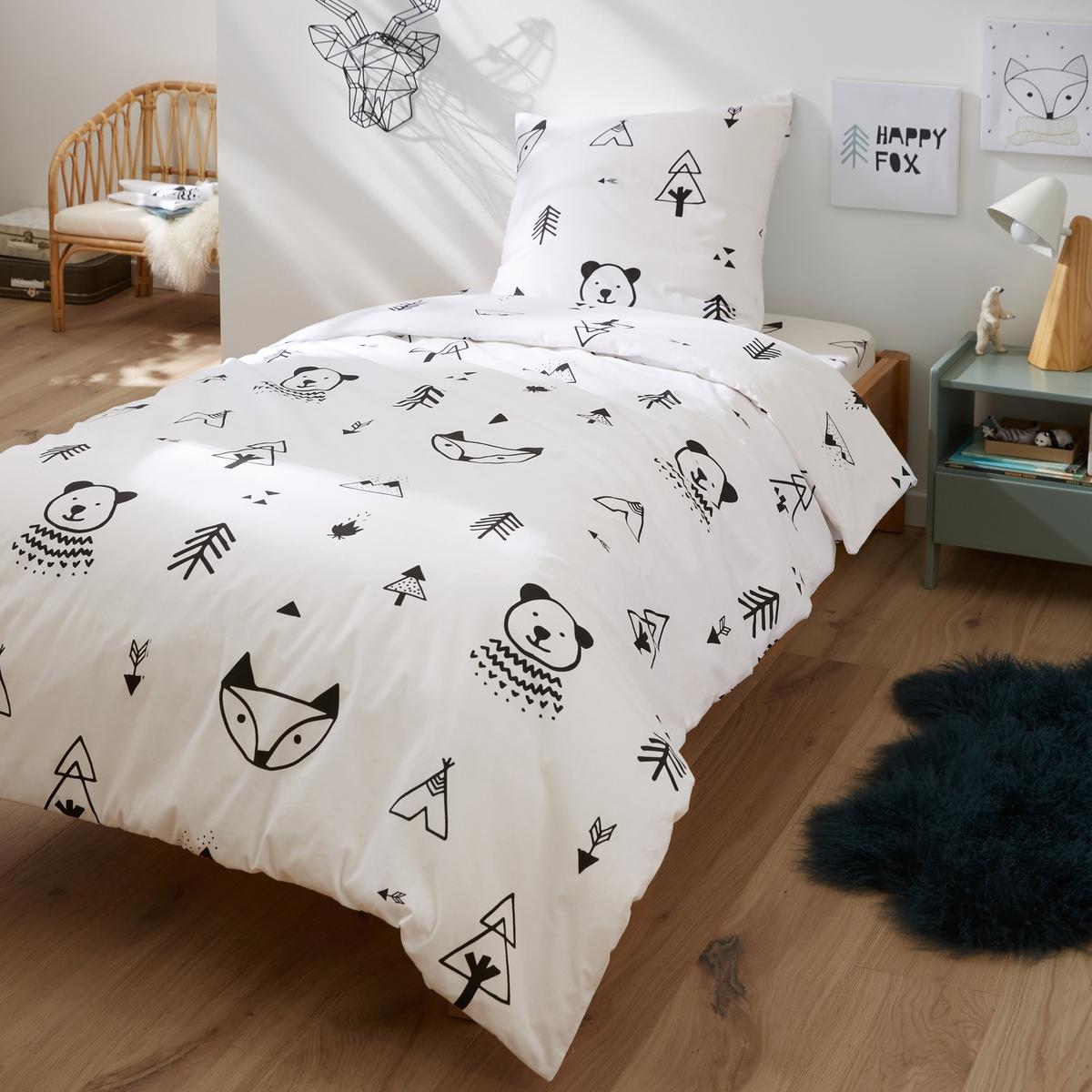 Пододеяльник La Redoute С рисунком FOREST CAMP 140 x 200 см белый кровать для кемпинга camp bed на 1 человека