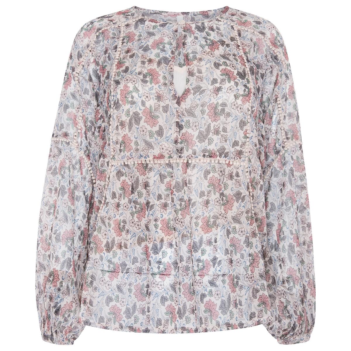 Blusa de flores, manga larga
