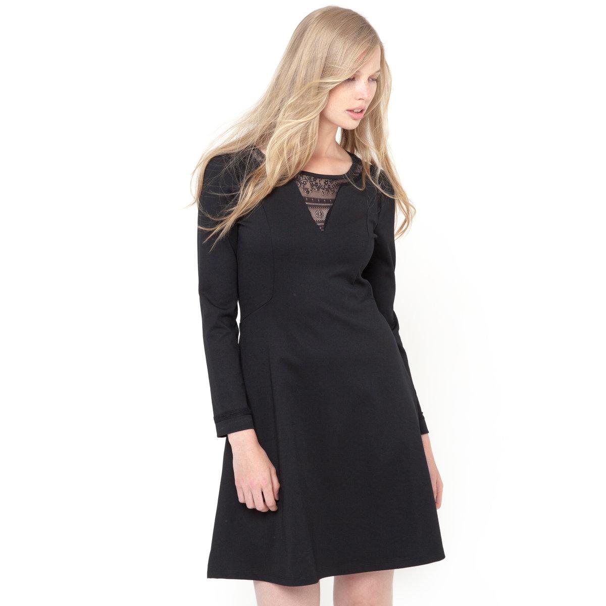 Платье из плотного трикотажа стретч и кружева<br><br>Цвет: черный<br>Размер: 46 (FR) - 52 (RUS)