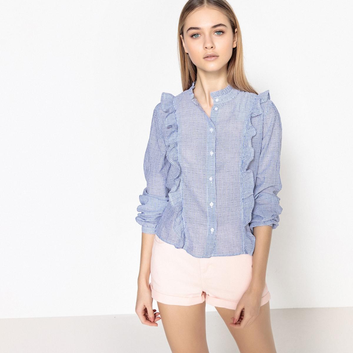 Блузка со стоячим воротником и графическим рисунком