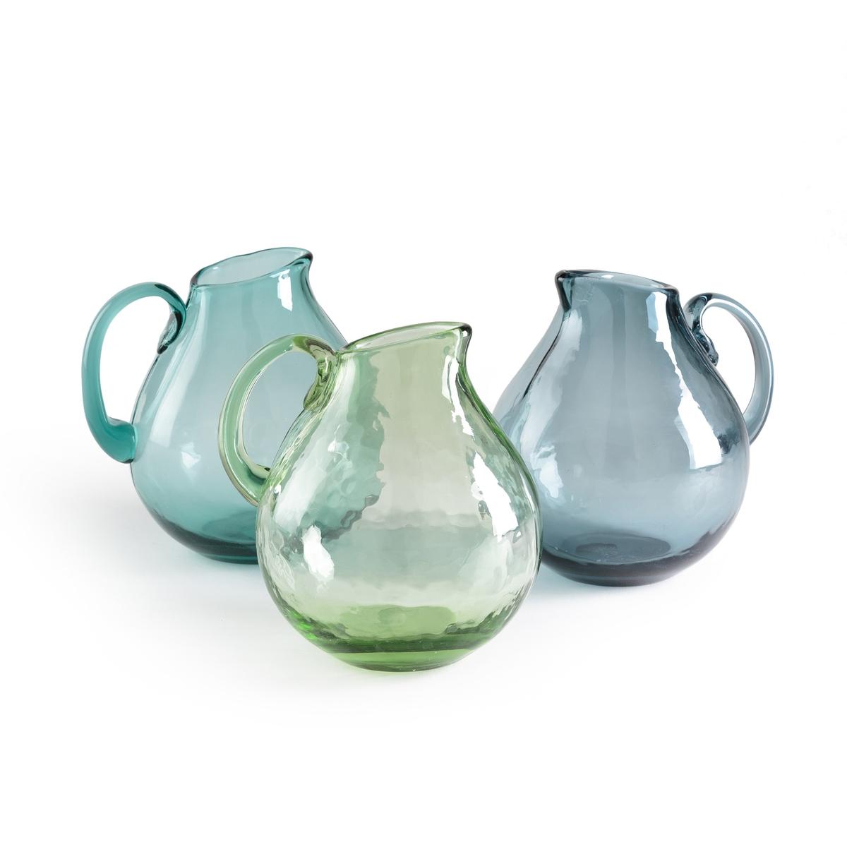 Графин из дутого стекла GalindoГрафин Galindo. Из дутого стекла. Каждое изделие уникально . Подходит для мытья в посудомоечной машине. Размеры  : диаметр 15 x высота 18 см. Объем 1,5 л.<br><br>Цвет: бирюзовый,зеленый,серо-синий