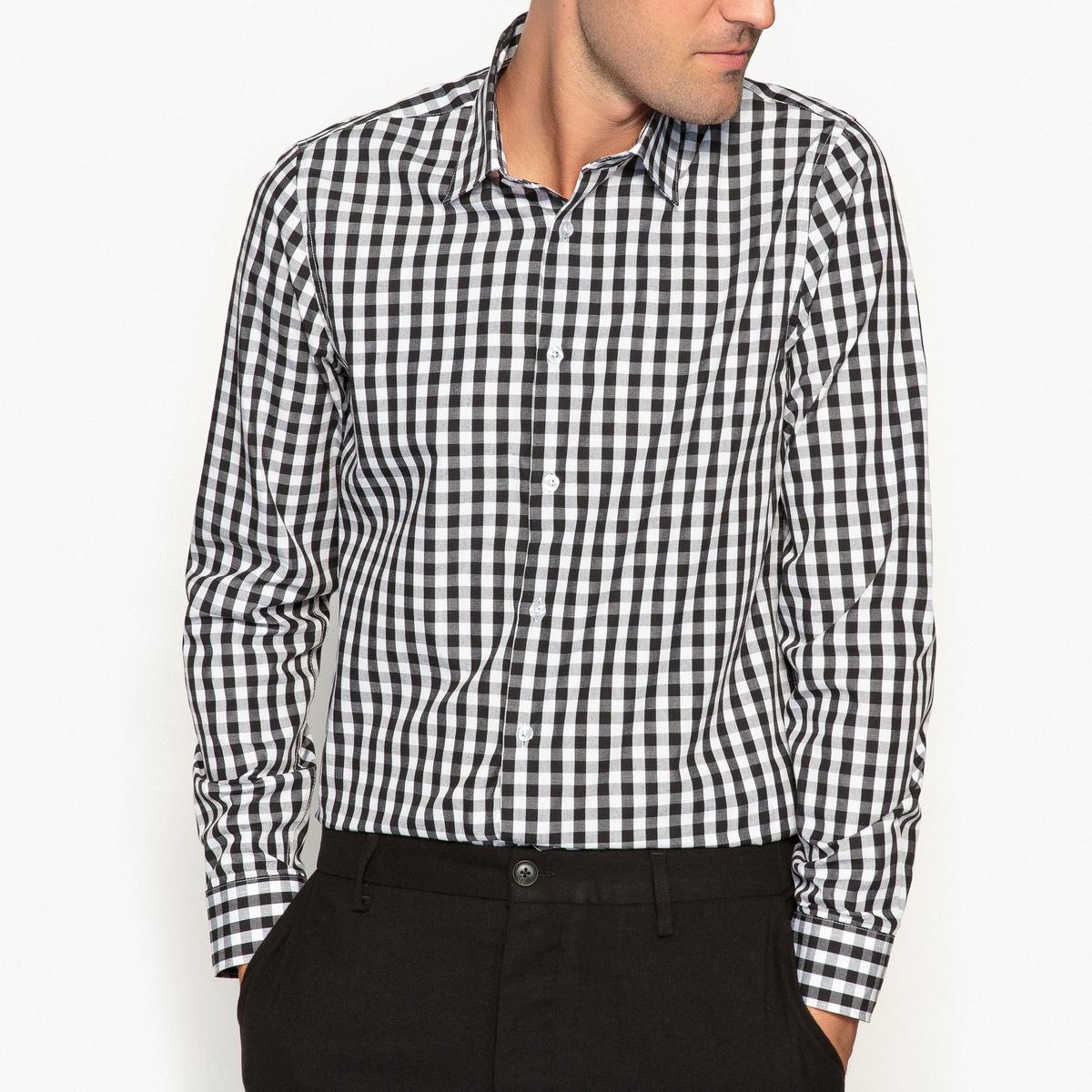 Рубашка-слим с рисунком виши