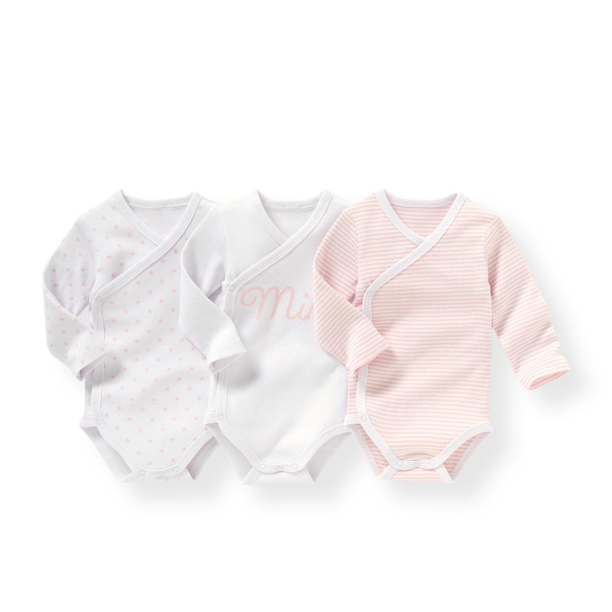 Комплект из хлопковых боди для малышейДетали  •  Рисунок-принт  •  Для новорожденных •  Длинные рукава •  ХлопокСостав и уход  •  100% хлопок •  Температура стирки 40° •  Сухая чистка и отбеливание запрещены   •  Машинная сушка на деликатном режиме •  Низкая температура глажки<br><br>Цвет: Белый + розовая полоска + рисунок<br>Размер: 0 мес. - 50 см.3 года - 94 см.2 года - 86 см.3 мес. - 60 см.1 мес. - 54 см